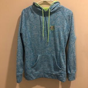 Ivory Ella pullover hoodie blue and neon green